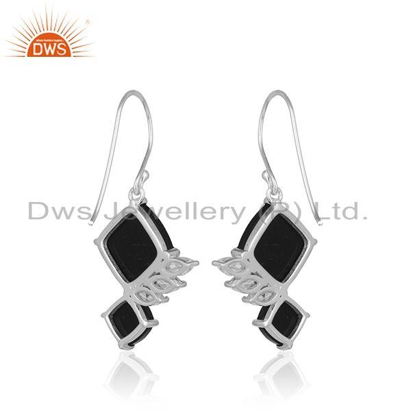 Suppliers Black Onyx Gemstone With White Zircon 925 Silver Handmade Drop Earring Wholesale