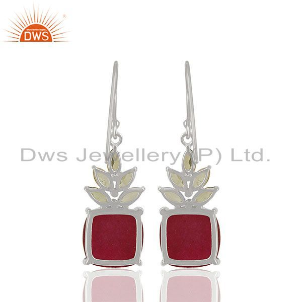Suppliers Prong Set Ruby and Peridot Gemstone Fine 925 Silver Earrings Wholesale
