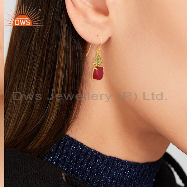 Suppliers Natural Multi Gemstone 925 Silver Gold Plated Earring Manufacturers