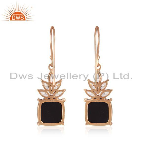 Suppliers Black Onyx Gemstone 925 Silver Gold Plated Zircon Earrings Manufacturer
