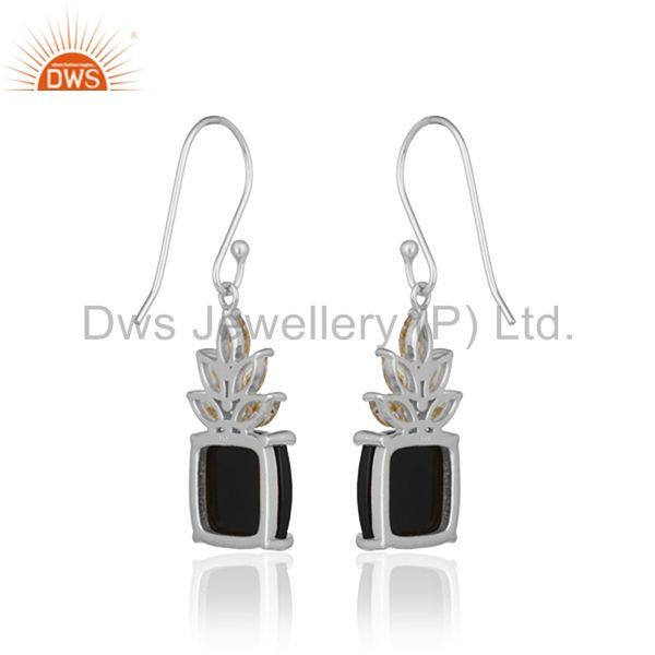 Suppliers Fine Sterling Silver Cz and Onyx Gemstone Drop Earrings Supplier from India