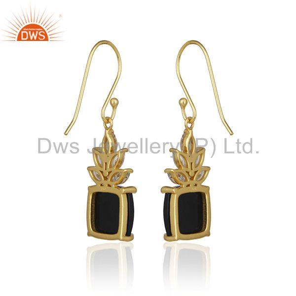 Suppliers Cz and Black Onyx Gemstone 925 Silver Gold Plated Custom Earring Manufacturer