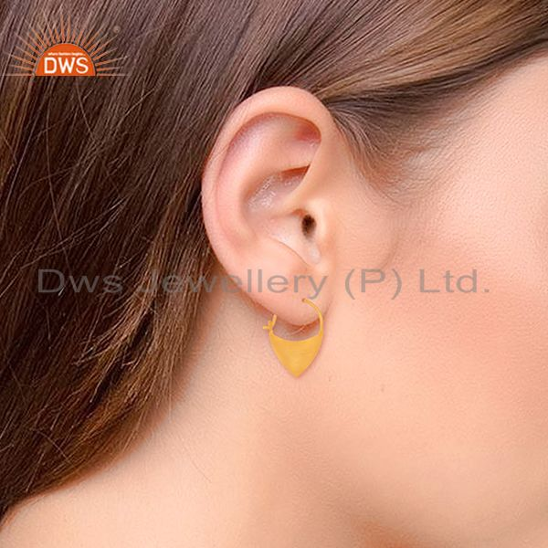 Suppliers Solid Plain 925 Sterling Silver Gold Plated Handmade Earring Wholesale