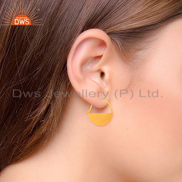 Suppliers Round 925 Plain Silver Handmade Gold Plated Simple Earrings Suppliers