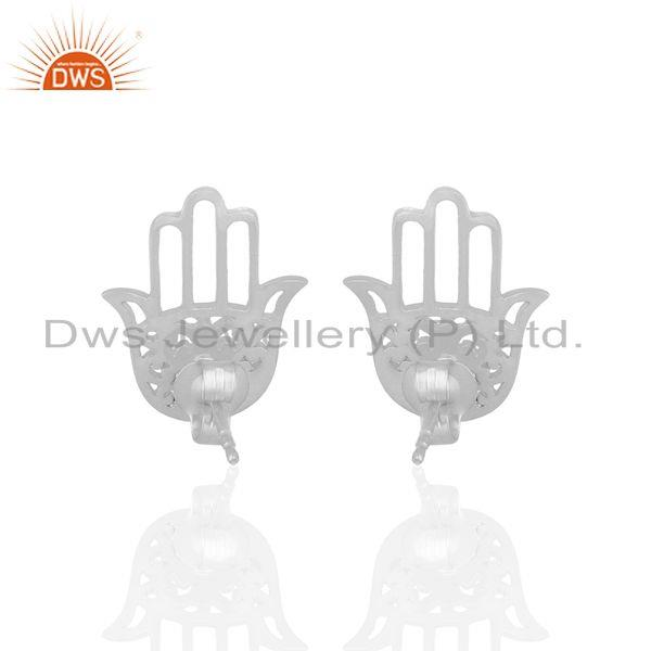 Suppliers White Rhodium Plated Hamsa Hand Charm Silver Stud Earrings Wholesale
