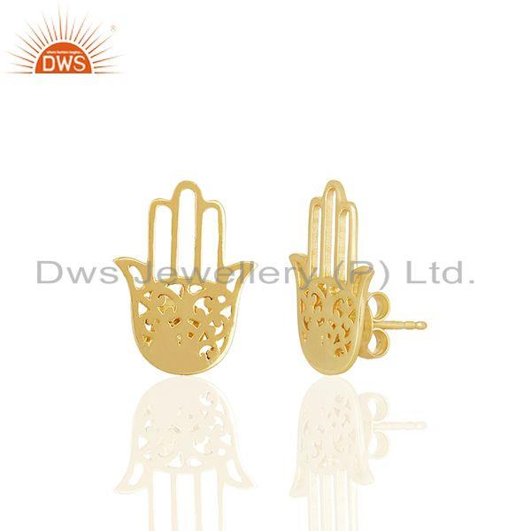 Suppliers 14k Gold Plated Sterling Silver Hamsa Hand Charm Stud Earrings Jewelry