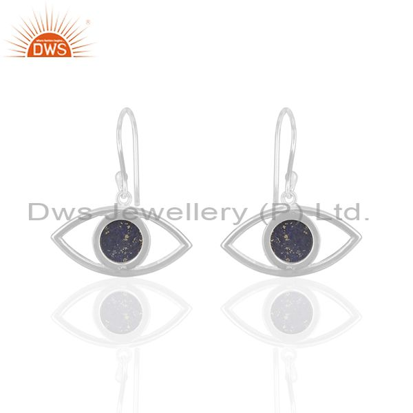 Suppliers Solid Silver Evil Eye Design Natural Lapis Lazuli Gemstone Earrings