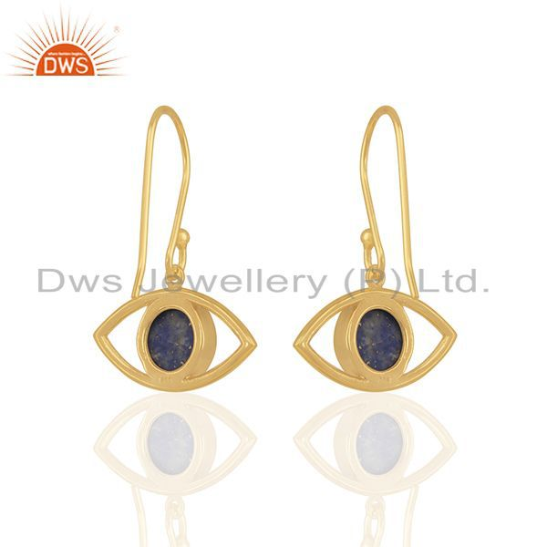 Suppliers Evil Eye Design Round Blue Gemstone Brass Fashion Earring Manufacturer
