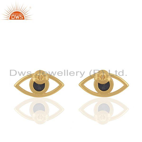 Suppliers 925 Silver Gold Plated Lapis Lazuli Gemstone Eye Design Stud Earrings