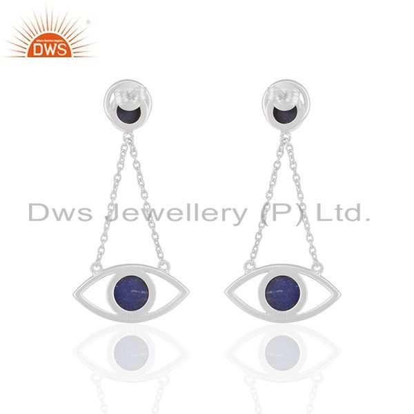 Suppliers Handmade 925 Silver Lapis Lazuli Gemstone Chain Earrings Manufacturer