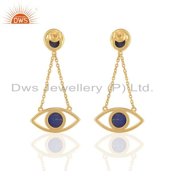 Suppliers Gold Plated 925 Silver Gold Plated Chain Lapis Gemstone Earring