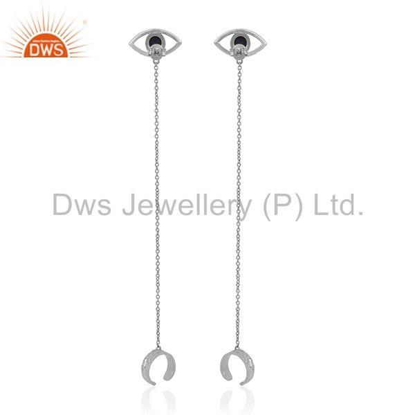 Suppliers Fine Sterling Silver Evil Eye Design Gemstone Ear Cuff Earring Wholesale