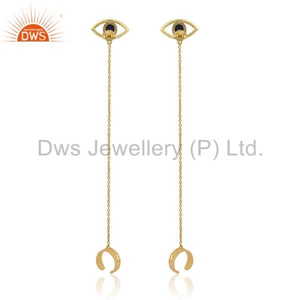 Suppliers Evil Eye Design 925 Silver Gold Plated Chain Ear Cuff Earrings Manufacturers