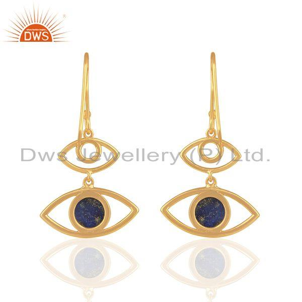 Suppliers Natural Lapis Lazuli Gemstone 925 Silver Gold Plated Earring Wholesale
