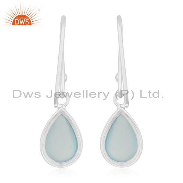 Suppliers Blue Chalcedony Gemstone 925 Silver Custom Earring Manufacturer India