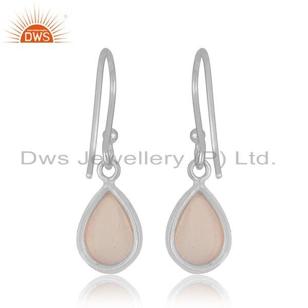 Suppliers White 925 Sterling Silver Rose Chalcedony Gemstone Simple Drop Earrings Supplier