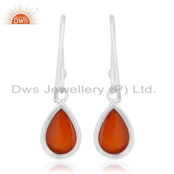 Suppliers Carnilian Gemstone White Rhodium Plated 925 Silver Drop Earring Wholesale