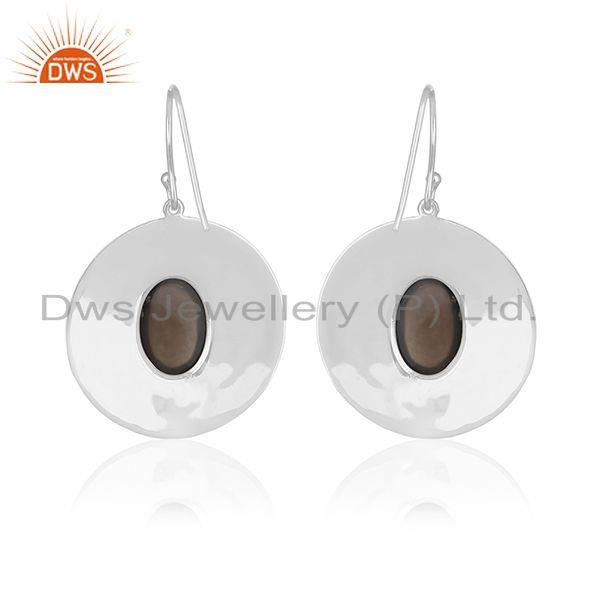 Suppliers Smoky Quartz White Rhodium Plated 925 Silver Drop Earrings Wholesale