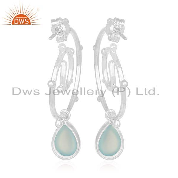 Suppliers Aqua Chalcedony Gemstone 925 Silver Designer Earring Suppliers
