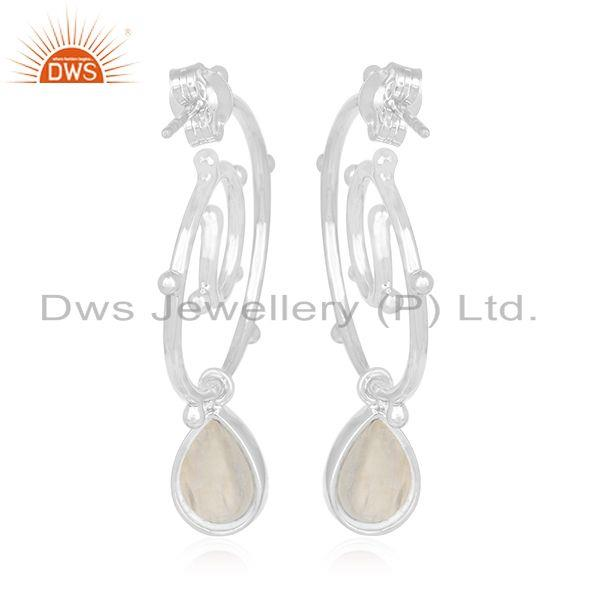 Suppliers Rainbow Moonstone New Arrival 925 Silver Girls Earring Jewelry Wholesale
