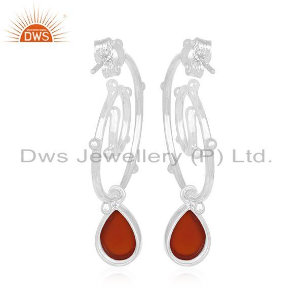 Suppliers Chalcedony Gemstone Sterling Silver Designer Women Earring Jewelry Manufacturers
