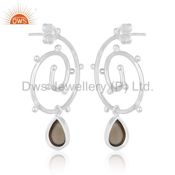 Suppliers Sterling 92.5 Silver Smoky Quartz Gemstone Private Label Earring Manufacturer