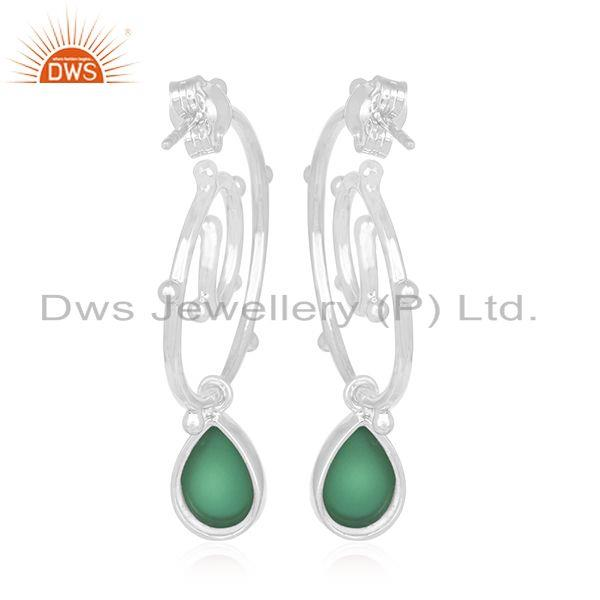 Suppliers Customized 925 Sterling Silver Green Onyx Gemstone Earring Manufacturer