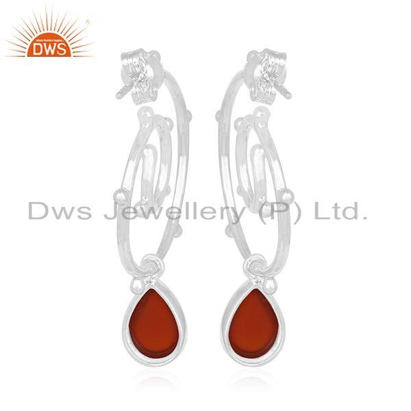 Suppliers Red Onyx Gemstone Sterling Silver Private Label Earring Manufacturer India