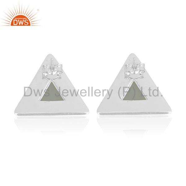 Suppliers Sterling 92.5 Silver Aqua Chalcedony Gemstone Custom Triangle Stud Earring