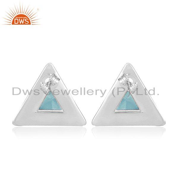 Suppliers Triangle Design 925 Silver Blue Chalcedony Gemstone Stud Earring Manufacturer