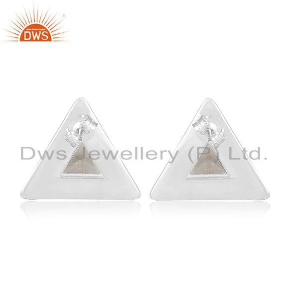 Suppliers Crystal Quartz Handmade Sterling Silver Triangle Ring Manufacturer