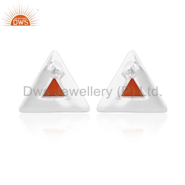 Suppliers Customized Triangle 925 Silver Gemstone Stud Earrings Manufacturer