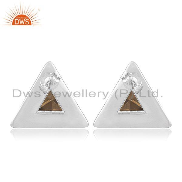 Suppliers 92.5 Sterling Silver Triangle Design Smoky Gemstone Stud Earring Manufacturer