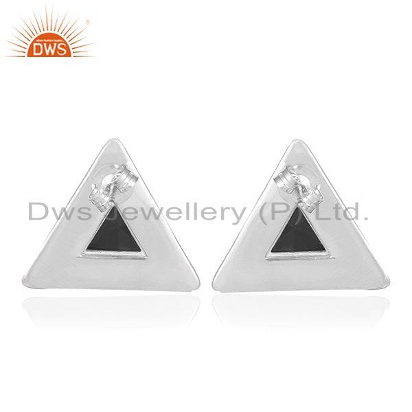 Suppliers Black Onyx Gemstone Sterling Silver Triangle Stud Earring Jewelry Manufacturer