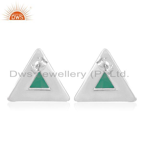 Suppliers Green Onyx Gemstone Sterling Silver Triangle Stud Earring Manufacturer India