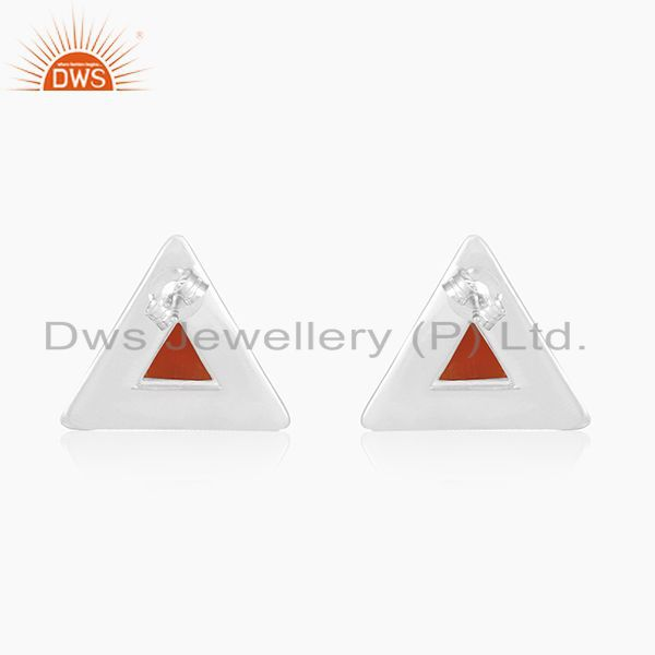 Suppliers Red Onyx Gemstone Sterling Silver Triangle Stud Earrings for Girls Jewelry