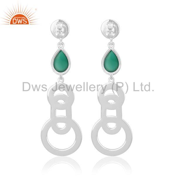 Suppliers 2017 New Design Fine Sterling Silver Green Onyx Gemstone Earring Wholesale