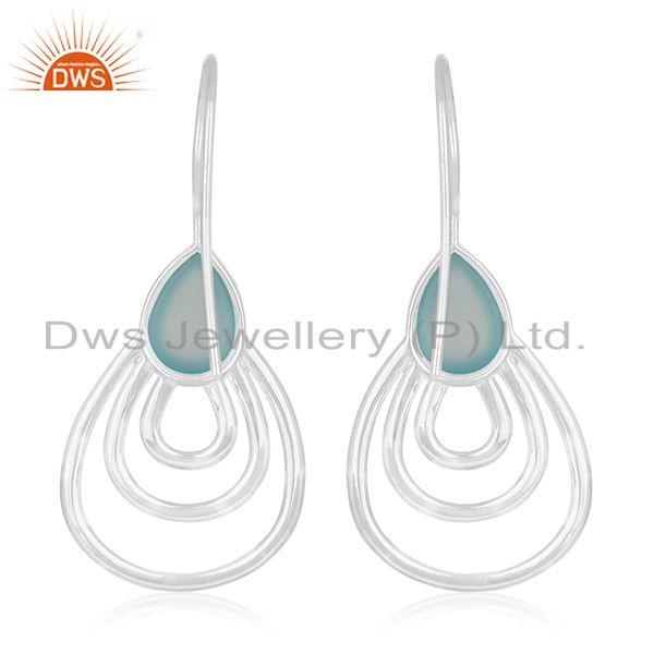 Suppliers Handmade White Rhodium Plated 925 Silver Blue Chalcedony Gemstone Drop Earrings