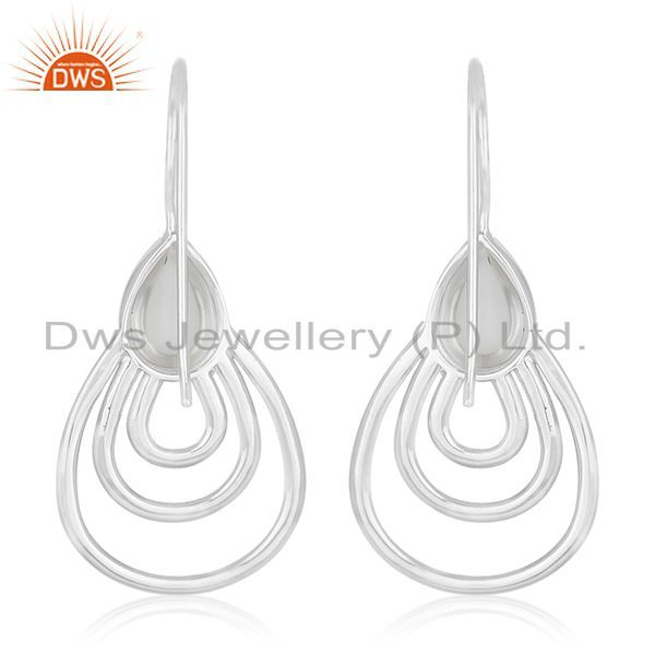 Suppliers Crystal Quartz 925 Silver White Rhodium Plated Earrings Jewelry Wholesale