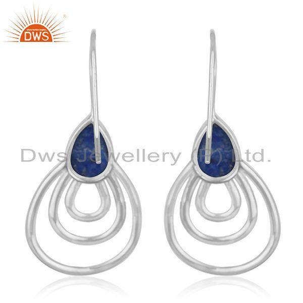Suppliers White Rhodium Plated 925 Silver Lapis Lazuli Gemstone Earrings Suppliers