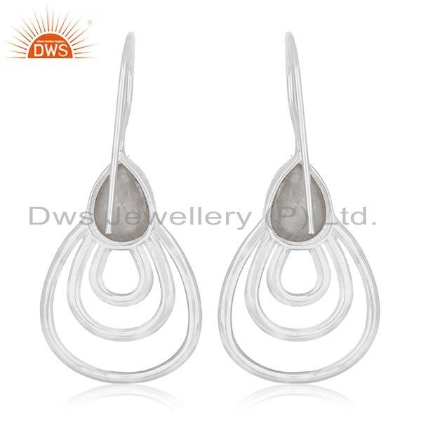 Suppliers Rainbow Moonstone Sterling Silver White Rhodium Plated Earrings Wholesale India