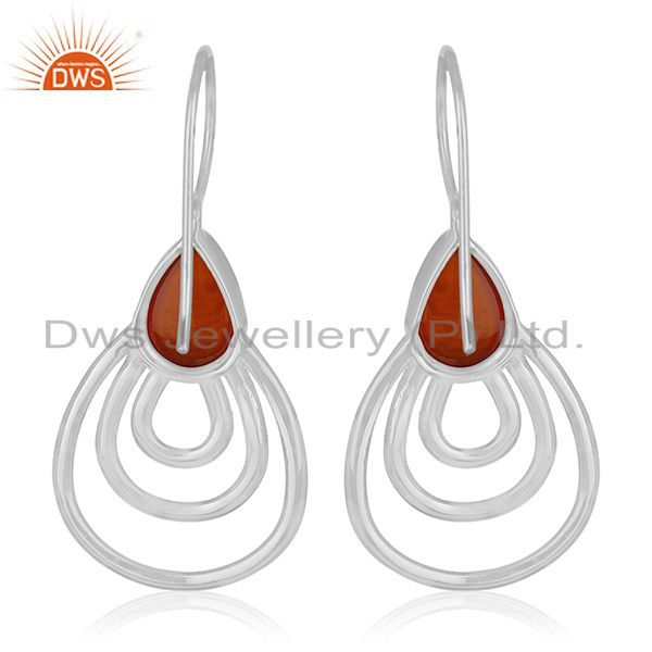 Suppliers Red Onyx Gemstone 925 Silver White Rhodium Plated Earrings Manufacturers