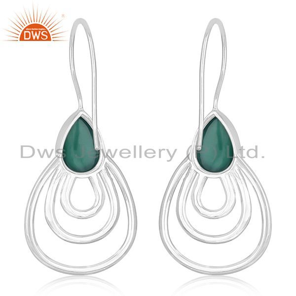 Suppliers Green Onyx Gemstone 925 Silver Designer Earrings Jewelry Manufacturer From India
