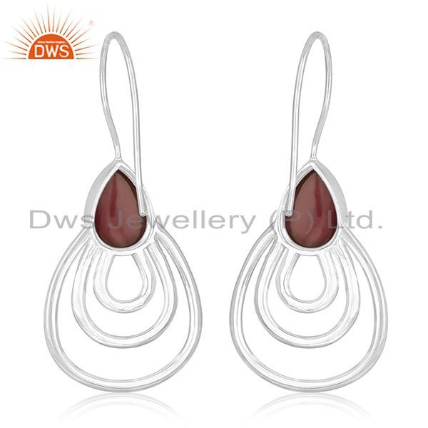 Suppliers Red Onyx Gemstone Sterling Silver Earrings Jewelry Manufacturer for Designers