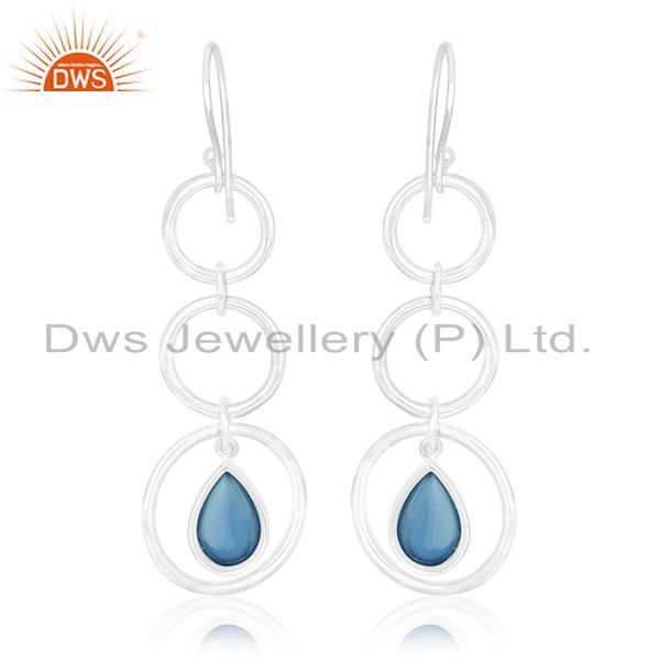 Suppliers Blue Chalcedony Gemstone Sterling Silver Dangle Earring Custom Jewelry Wholesale