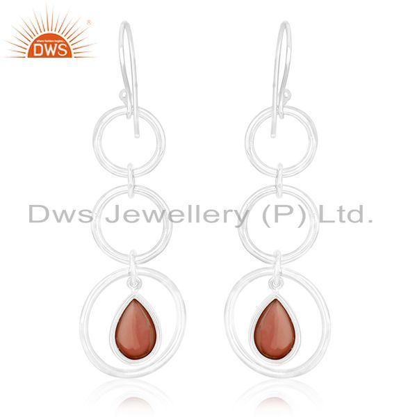 Suppliers Sterling Silver Red Chalcedony Gemstone Dangle Earring Wholesale Suppliers