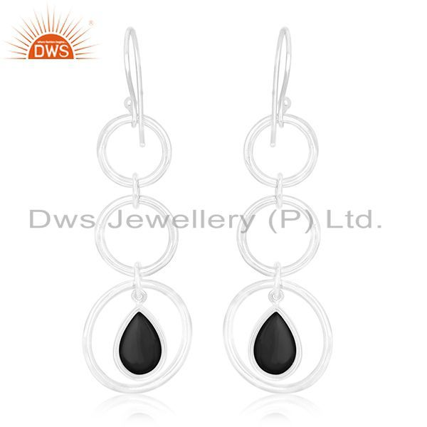 Suppliers Round Circle Sterling Silver Onyx Black Gemstone Earring For Retailers