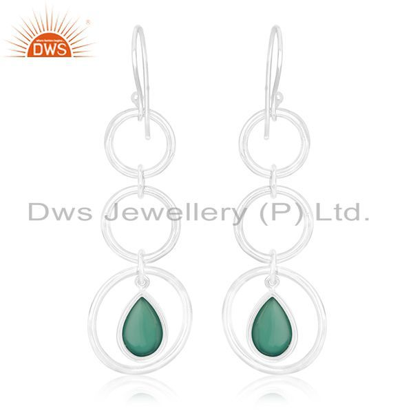 Suppliers Genuine 925 Silver Jaipur Gemstone Dangle Earring Manufacturer of Custom Jewelry