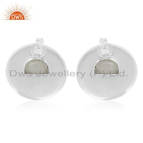 Suppliers Crystal Quartz Sterling Silver Round Stud Earrings Wholesale Supplier of Jewelry