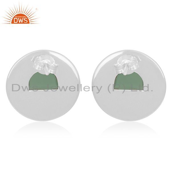 Suppliers Green Onyx Gemstone 925 Silver Round Stud Earrings Manufacturer from India